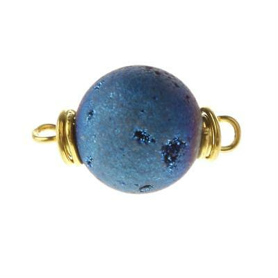 Agate Round Pendant Blue Color Jewelry Findings for Handcraft Embellishments