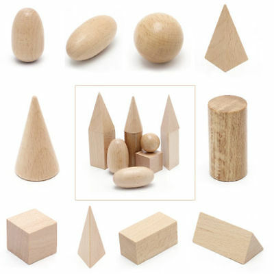 10Pcs New Wooden Geometric Shapes Solids Blocks Of Learning Cognitive Toys