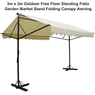 3x3m Outdoor Free Floor Standing Patio Garden Market Stand Folding Canopy Awning