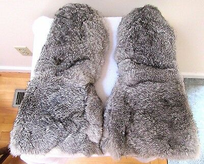 Large Authentic Rabbit Fur Mittens Winter Gloves Warm Leather Euc Lined Unisex