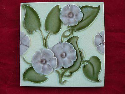 Antique Majolica Art Nouveau Tile Stylised Lilac Flowers Alfred Meakin VGC