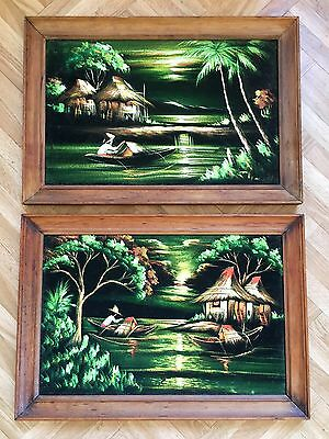 Vintage Original Pair Flocked Black Velvet Paintings in Timber Teak Retro Beach