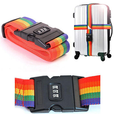 LUGGAGE Adjustable Password Lock Nylon Belt Strap Band Multi-color Long