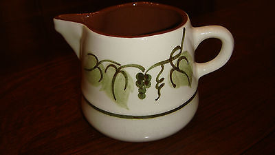 """Vintage Small Stangl Pitcher  - Golden Grape Design 3"""" Tall White w/grape leaves"""