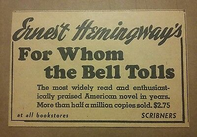 1941 Ernest Hemingway For Whom the Bell Tolls Book Promo Ad
