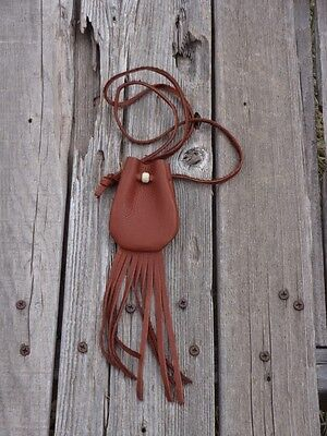 Brown leather medicine bag with fringe , Brown leather neck pouch with fringe