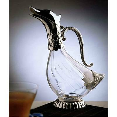 Brand New Duck Decanter Silver Plated Glass - Water Wine Jug Carafe Pitcher
