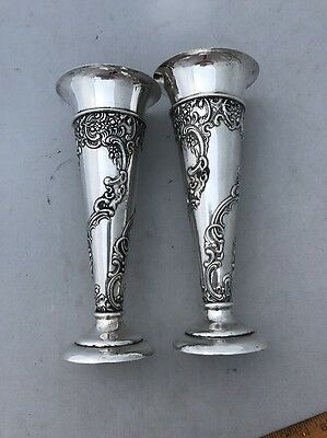 Repousse Vases Sterling Silver London England William Comyns & Sons Ltd 1903