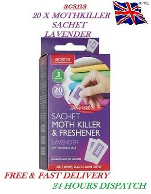 Pack of 20 Acana MOTH KILLER & FRESHENER Sachets with Lavender Fragrance Clothes