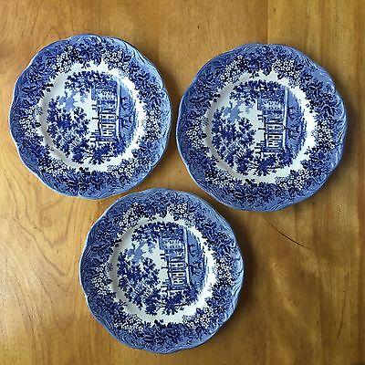 Set of Three J & G Meakin Romantic England Blue Bread Plates