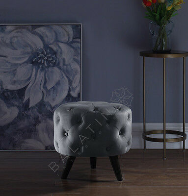 Shiny Velvet Footstool With Legs Available In Various Colours / Dove Stool