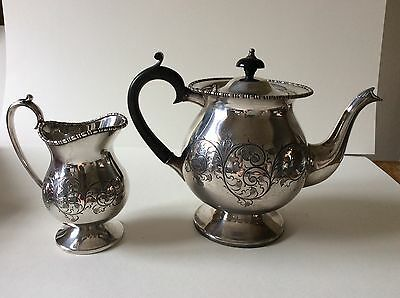 Cooper bros.silver plate large Tea Pot and jug beautifully engraved