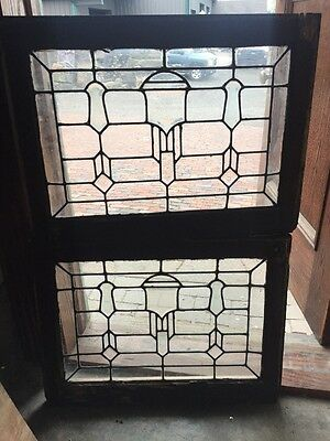 Sg 1502 Matched Pair Leaded And Beveled Transom Window 28.5 W 21.2 5H