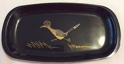 """Vintage COUROC of Monterey Roadrunner Decorative Oval Tray 12 1/2 X 6 1/2"""""""