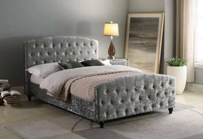 Luxury Orient 4FT6 Double Crushed Velvet Bed With Orthopedic Memory Mattress
