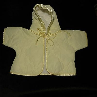 Sweet Vintage Unisex Quilted Baby Hoodie Yellow Satin Trim Approx 6 M Evc