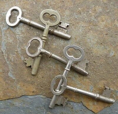 Five Antique Nickel Plated Bronze Mortise Lock Skeleton Keys  Antique Door Keys