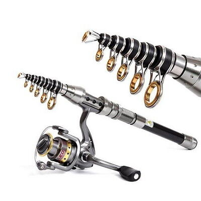 Telescopic Fishing Rod Spinning Fish Hand Tackle Carbon Fiber Pole Portable QW