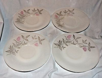 Set of 4 Federal Glass Clover Blossom Pattern Saucers Plates Pink and Gray