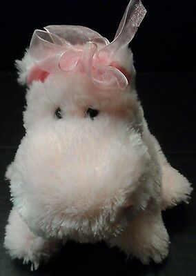 "Russ Berrie Hippo Pink Girls Plush Stuffed Animal ""Darly"" 7"" tall pellets"