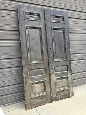 An 402 Antique Double Doors Set Raised Panel 51 X 87.5