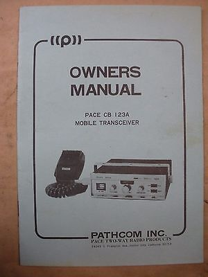 Vintage Pace CB 123A Radio Owners Manual In Great Condition