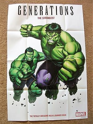 "GENERATIONS: THE STRONGEST (24"" x 36"" HULK FOLDED PROMO POSTER, MARVEL 2017) NEW"