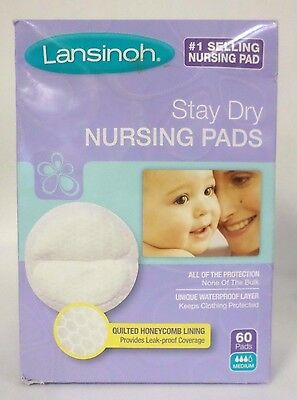Lansinoh Stay Dry Nursing Pads Medium Quilted Honeycomb Lining 60 Pads