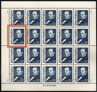 "USA 1989 MNH $1 John Hopkin's SC# 2194 ""Lipstick"" Error in Complete Sheet of 20"