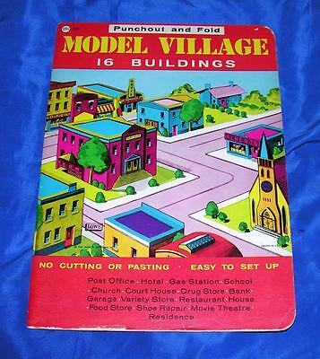1940's Unused Vtg Punch Out & Assemble Xmas Putz  Cardboard Village, Tab N Slot