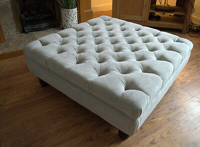 Square Chesterfield Deep Buttoned Footstool in Casino Silver  10 colours