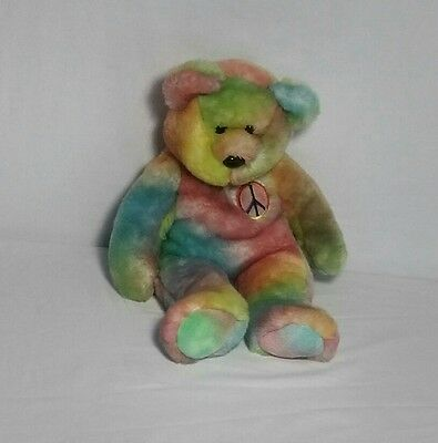 Ty Beanie Babies PEACE Tye-Dyed Bear Vivid Tri-Colored Face