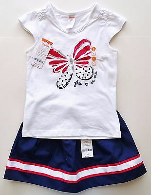New gymboree outfit t shirt skirt girls size 5 5T butterfly red white blue