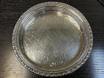 Vintage Rogers & Bro Silverplate Round Pierced Sides Gallery Serving Tray 1770G