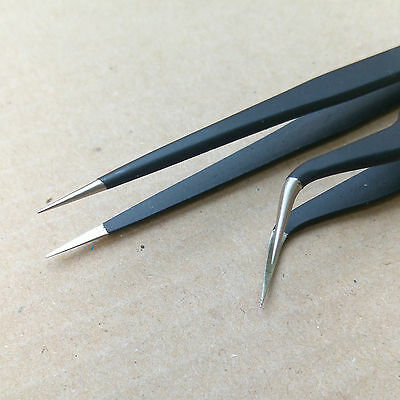 Straight + Curved Precise Super Fine Point Tweezers Eyelash Extension ESD 11/15