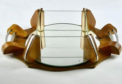 Vintage French Art Deco Mirror Candy Box Tray Wood & Chrome 1930s