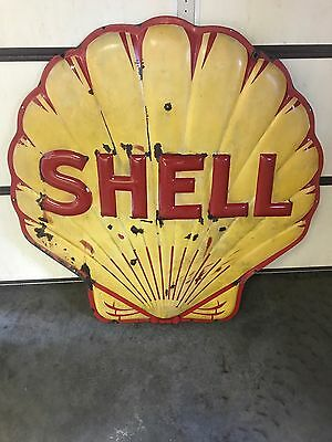 Rare Antique SHELL Gas Service Station  Porcelain Sign