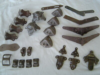 Antique Trunk Hardware 1880-1920 steamer humpback stagecoach Hinges Corners Lock