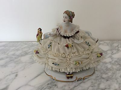 Lovely dresden unterweissbach figurine porcelain lady parrot TOP QUALITY