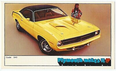 1970 Plymouth 'CUDA 340 2-Door Hardtop NOS Original NOS Dealer Promo Postcard ^