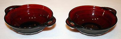 Depression Glass Anchor Hocking Ruby Red Berry Bowls (Set of 2)