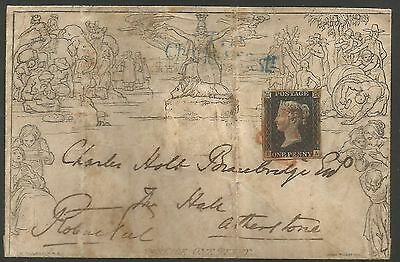 1840  ONE PENNY MULREADY ENVELOPE FROM ROBERT PEEL (QV PM) FRANKED 4M 1d BLACK
