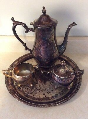 William Rogers 800 Antique Silverplate Teapot/Coffee, Creamer, Sugar, And Tray
