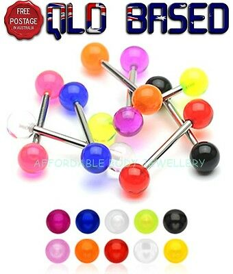 Glow In The Dark Ball Tongue Bar Ring Barbell Piercing  - 14G 16MM