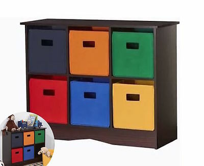 RiverRidge Kids Compartment Cubby 6 Bright Collapsible Storage Bins