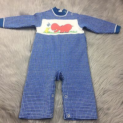 Vintage Carter's Baby Boys Hippo Animal Blue Checkered Romper Sz 12m 18m