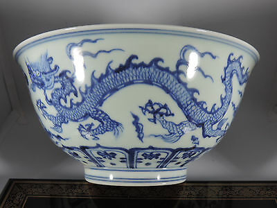 Ming Dynasty Fine blue dragon bowl in underglaze blue