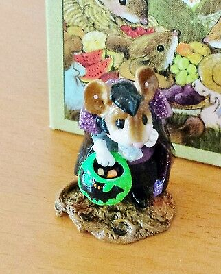 "Wee Forest Folk M-284a ""Count Spooky"" green pumpkin RETIRED  Mint"