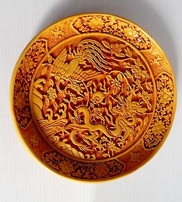 Vintage Hand Carved Yellow Lacquer Chinese Plate 19.5 cm Highly Detailed
