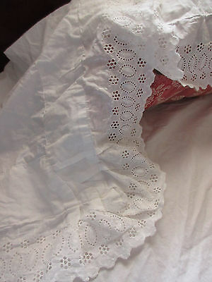 Antique White Cotton Bed Sheet Eyelet Lace Trim Lay Over Pillow Cover/Return